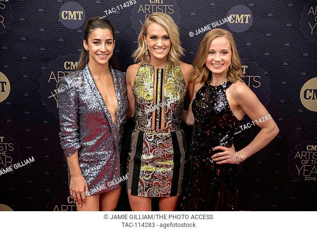 Aly Raisman, Carrie Underwood and Madison Kocian arrive at the CMT Artists of the Year Red Carpet
