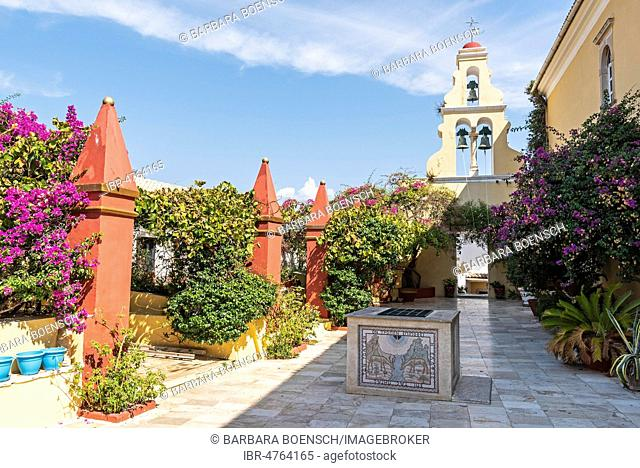 Bell tower in the courtyard, monastery Panagia Theotókos tis Paleokastritsas, Paleokastritsa, island Corfu, Ionian Islands, Greece