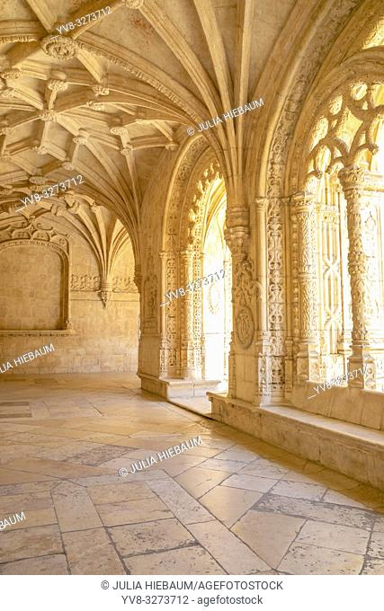 Archway inside S. Jeronimos monastery in Lisbon, Portugal