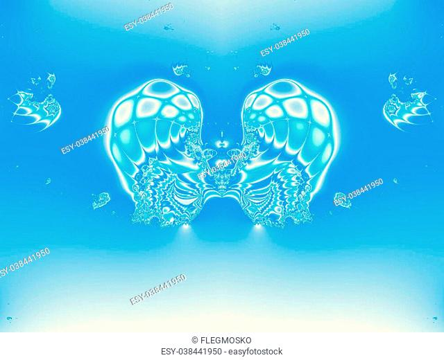 Abstract wings placed on a blue background