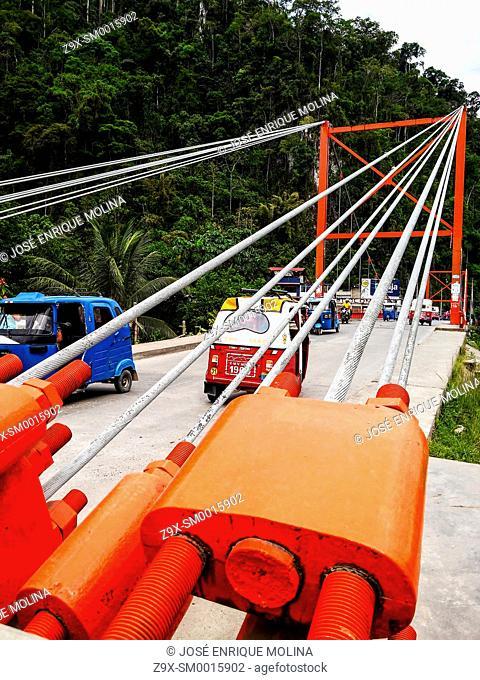 Bridge over the Huallaga river. Tingo Maria city in the peruvian jungle.Huanuco department. Peru