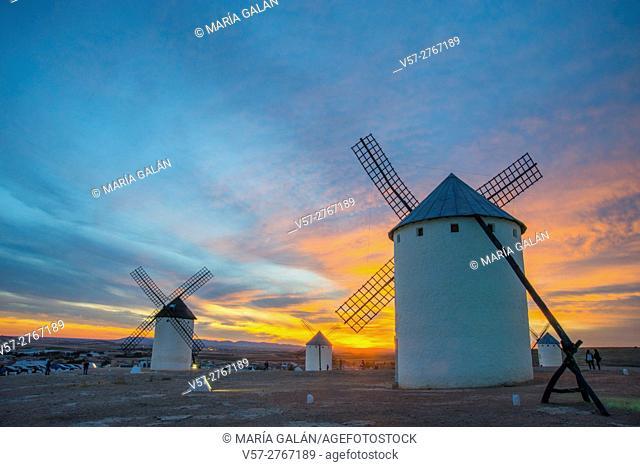 Windmills at dusk. Campo de Criptana, Ciudad Real province, Castilla La Mancha, Spain