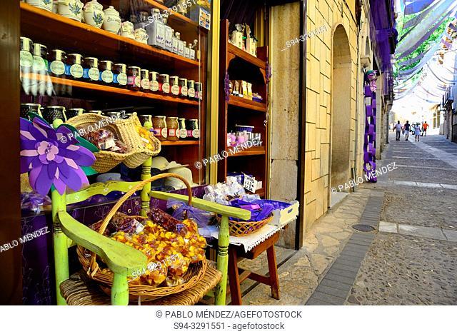Pedestrian decorated alley of Brihuega, Guadalajara, Spain. Lavender festival