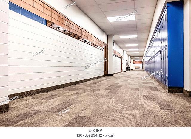 Rows of blue lockers in high school corridor