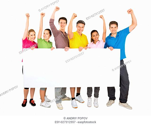 A Successful People Cheering While Holding A Blank Banner In Front Of White Background