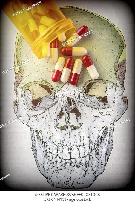 Capsules on a skull, conceptual image of life and death