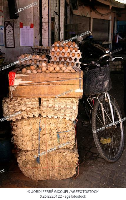 Piles of eggs in a market stall at Medina's souk, Marrakech, Morocco, Africa