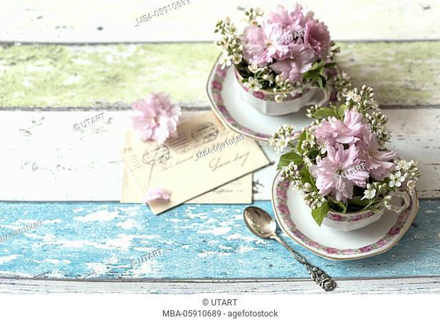 Still life, cups, preciously, old, rose pattern, pink cherry blossoms, wooden board,silver spoon, letters
