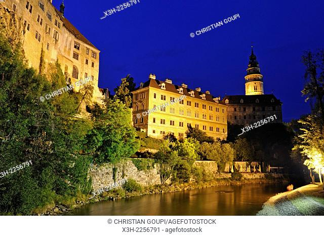 the Vltava River at the foot of the Cesky Krumlov Castle by night, South Bohemia, Czech Republic, Europe