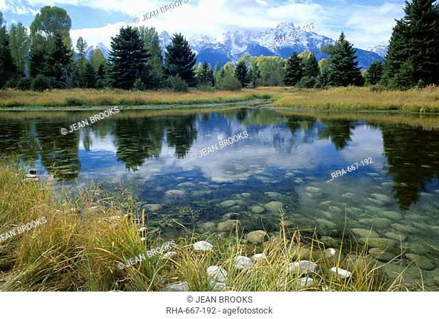 Teton Mountains seen from Schwabacher's Landing, Grand Teton National Park, Wyoming, United States of America U.S.A., North America