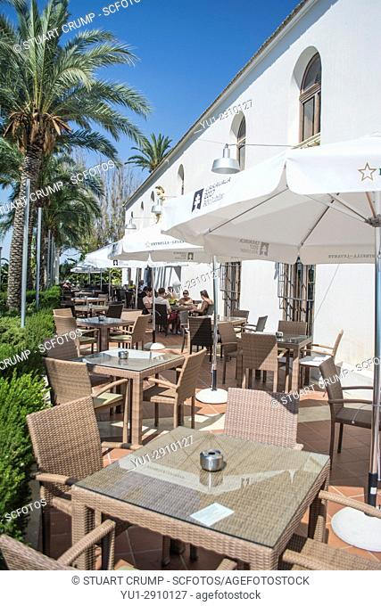 Outside dining area at El Cason Restaurant within Hacienda Riquelme Golf Resort in Murcia Spain