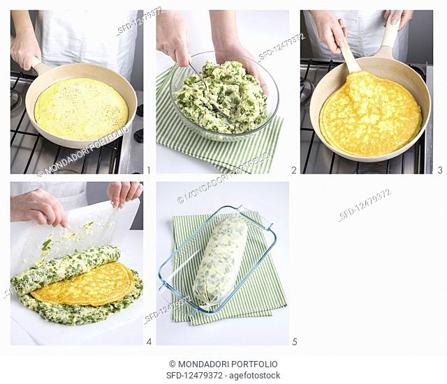 Mange tout bread filled with omelette being made