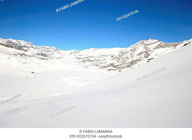 Quiet alpine scene in winter