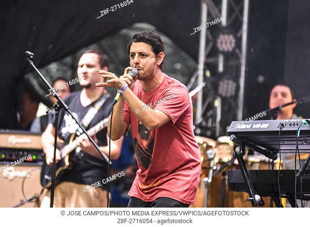 Mentados, ska and reggae band from Costa Rica, during their show at Coca Cola Fest concert. Estadio Nacional, San José, Costa Rica. August 27th, 2016