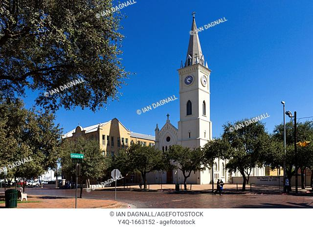 The Cathedral of San Agustin in the Main Square, Laredo, Texas, USA
