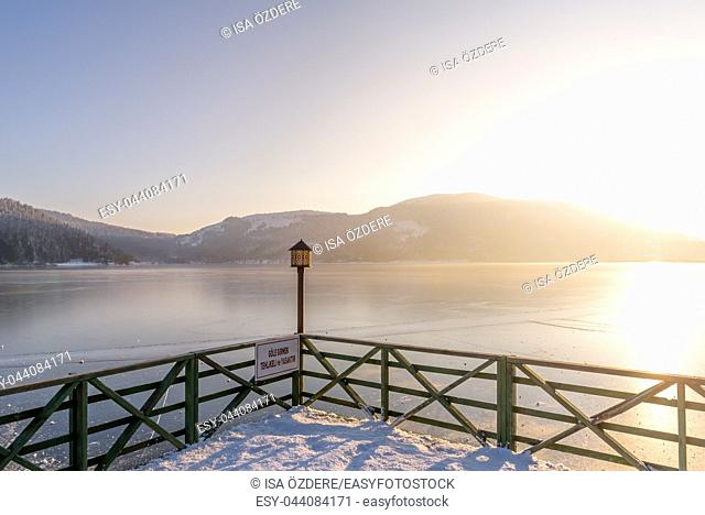 Landscape View of frozen Abant lake in Golcuk National Park in Bolu,Turkey