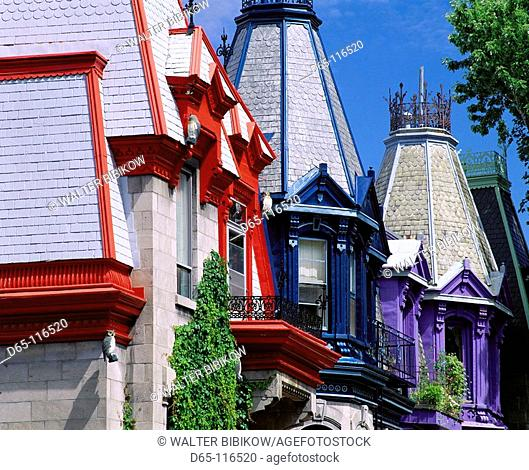Brightly painted house at Carré Saint-Louis, Montreal. Quebec, Canada
