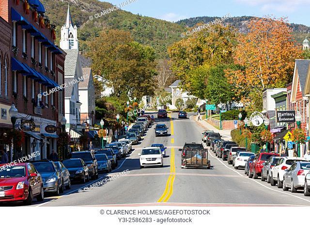 An autumn view up Main Street in Camden, Maine