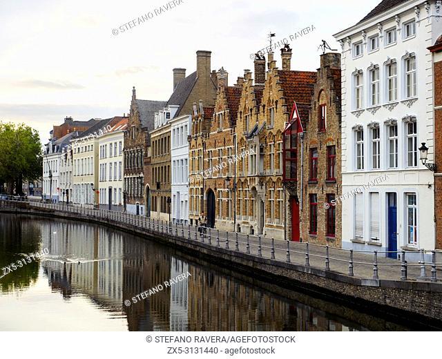 House facades in Ververdijk street along the canal - Bruges, Belgium