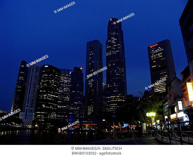cityscape of Singapore, nightlife at riverside, Singapore