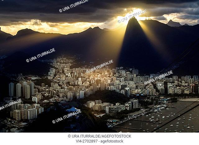 Corcovado view at sunset from Pão de Açúcar, Rio de Janeiro