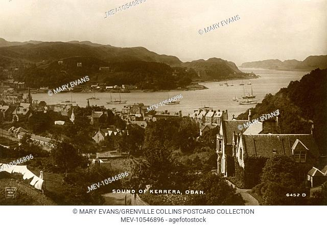 Sound of Kerrera - Oban - Scotland. Oban Bay is a near perfect horseshoe bay, protected by the island of Kerrera, and beyond Kerrera is Mull