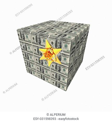 presents and gifts box with us dollar note texture isolated on a white background