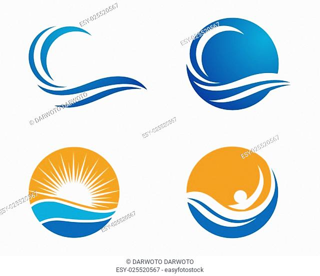 Wave symbol and icon Logo Template vector