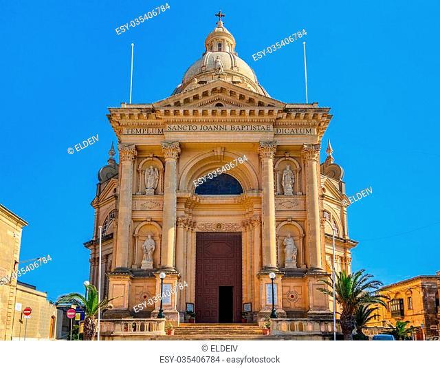 Xewkija church dedicated to St John the Baptist, in Gozo, Malta