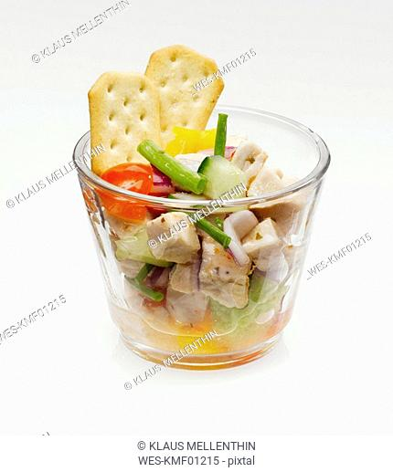 Turkey hen salad and vegetable in glass