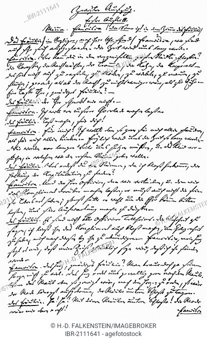 Historic manuscript, 1767, page from Minna von Barnhelm by Gotthold Ephraim Lessing, 1729 - 1781, a poet of the German Enlightenment