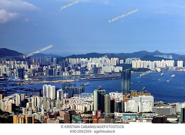 Aerial view accross Kowloon and Harbor Bay to New Territories, Hong Kong, China, East Asia