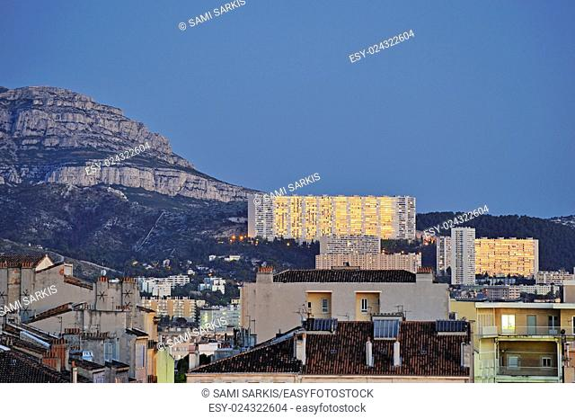 Reflection of sunset on buildings in Marseille city center, France, Europe