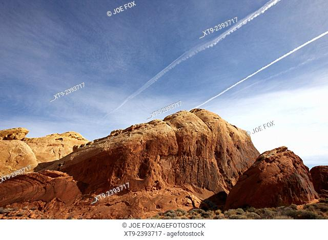 large sandstone rock formation near the silica dome valley of fire state park nevada usa