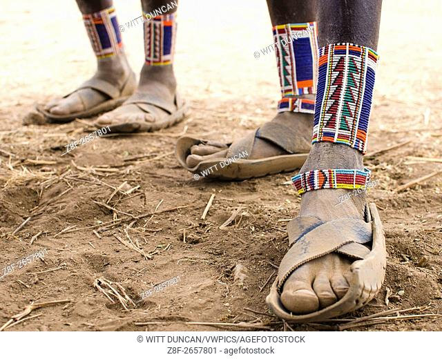 Maasai feet with hand made sandals