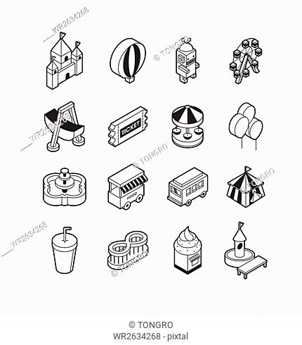 Various line icons related to amusement park
