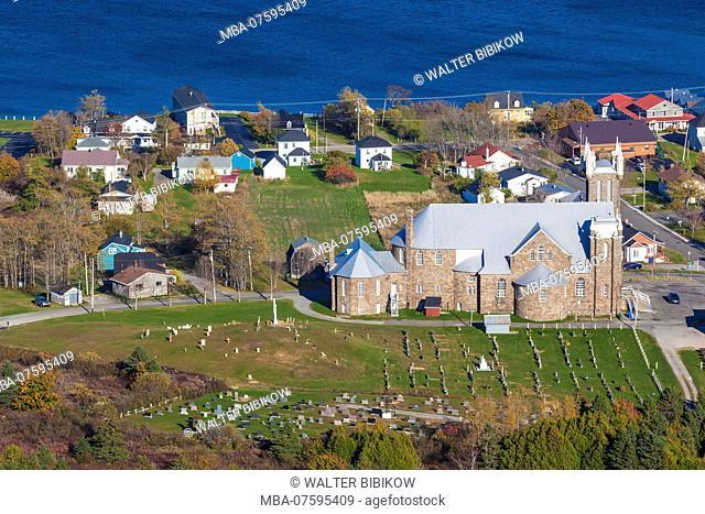 Canada, Quebec, Gaspe Peninsula, Perce, Eglise St-Michel, town church, autumn, elevated view