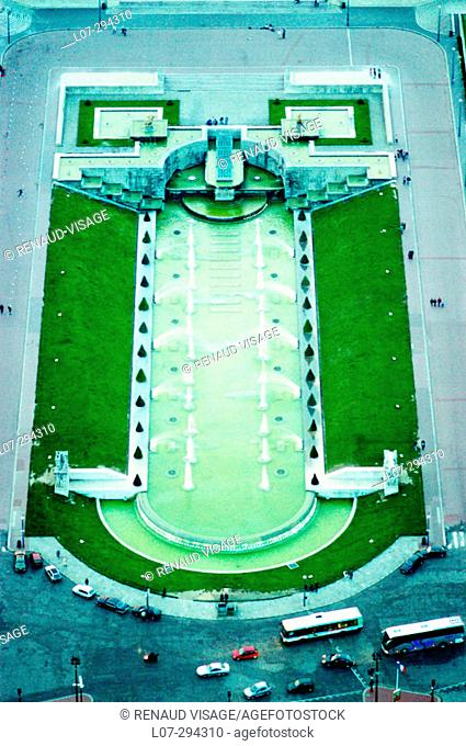 Fountains at Trocadero gardens seen from above. Paris. France