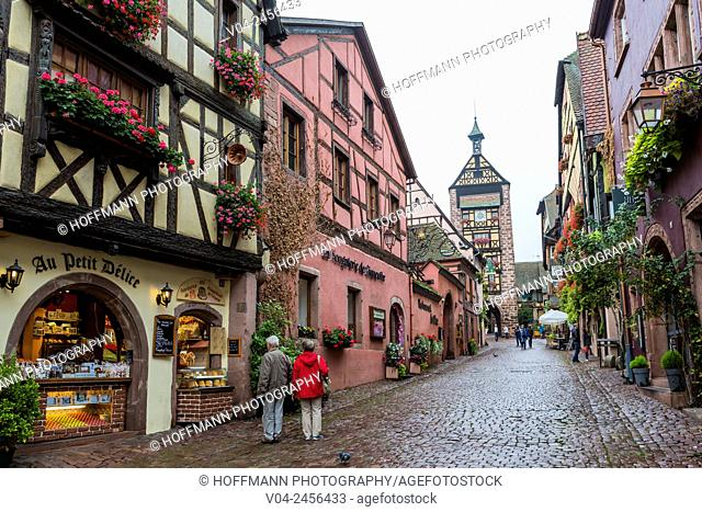 The picturesque village of Riquewihr with 13th century gate tower Dolder Tower in the background, Alsace, France, Europe
