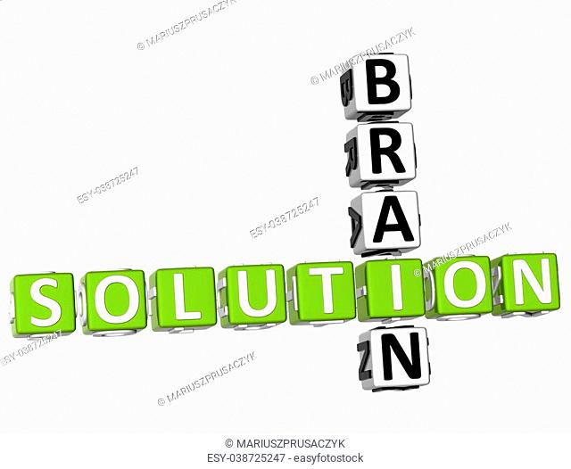 3D Brain Solution Crossword on white background