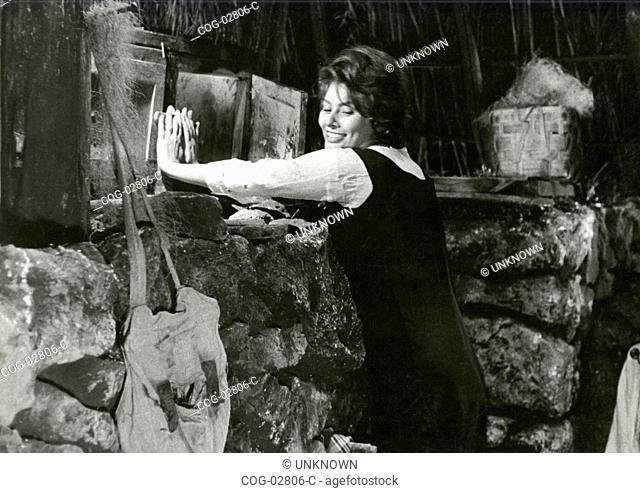 Scene from the film La Ciociara with actress Sophia Loren, Italy