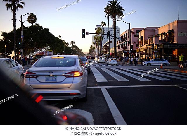 Streets of Santa Monica at sunset, California