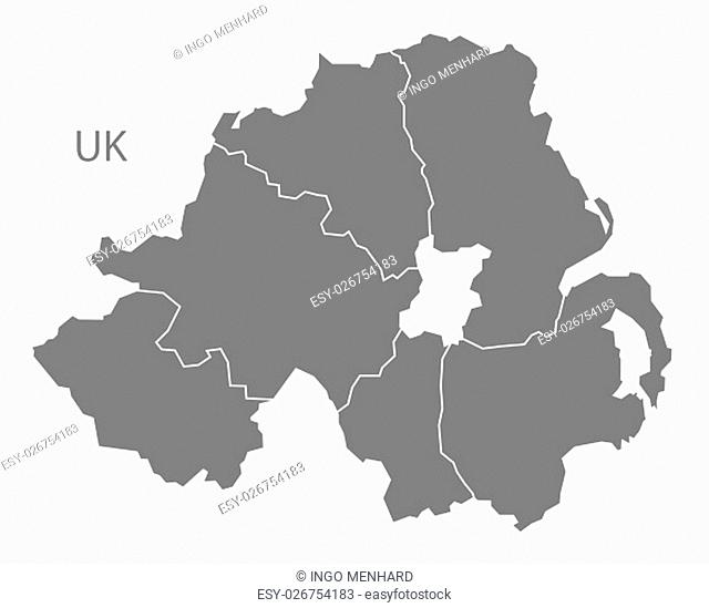 Northern Ireland Map with counties grey