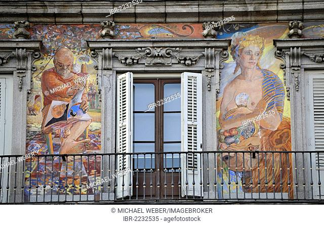 Mural paintings on the Casa de la Panaderia building, bakers' house, Plaza Mayor square, Madrid, Spain, Europe, PublicGround