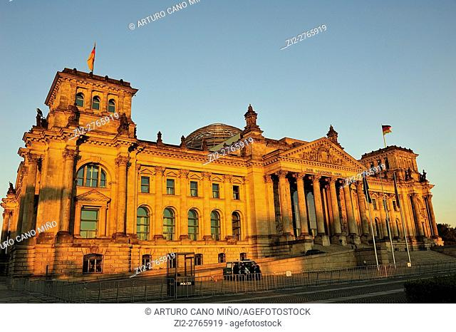 The Reichstag building or the Bundestag, by Paul Wallot, XIXth century. Berlin, Germany