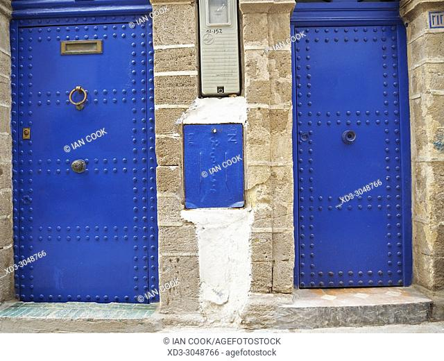 two blue doors, the Medina, Essaouira, Morocco
