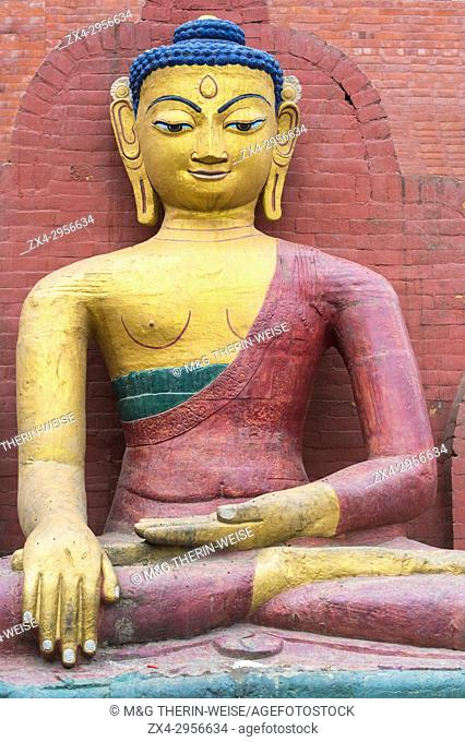 Bumisparsha mudra Buddha Statue, Swayambunath or Monkey Temple, Unesco World Heritage Site, Kathmandu, Nepal, Asia