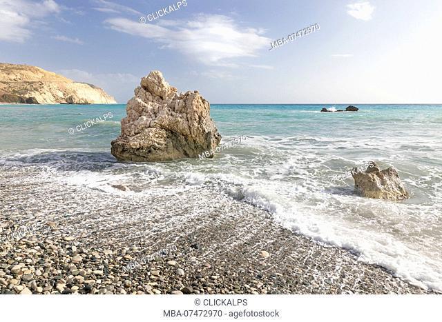 Cyprus, Paphos, Petra tou Romiou also known as Aphrodite's Rock