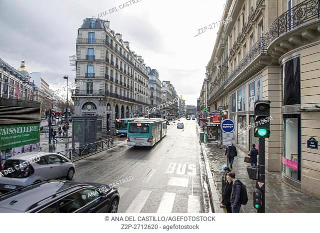 Cityscape in Paris on March 29, 2016 in France Rue Auber