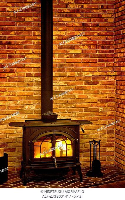 Wood stove and brick wall